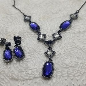 Avon Blue Y Drop Faceted Crystal Necklace Earrings